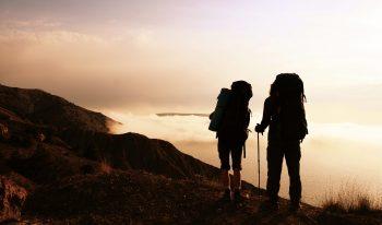 Hikers on a hillside overlooking a beautiful landscape.
