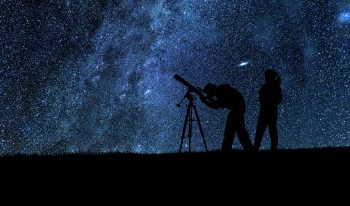 Stargazing using a medium-size telescope.