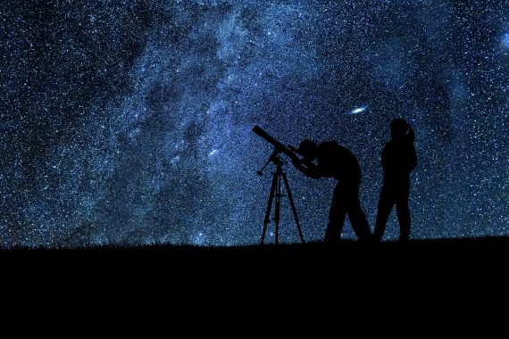 Stargazing using a medium-size telescope.